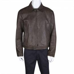 Emporio Armani Brown Embossed Leather Zip Front Jacket XL 127853