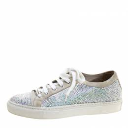 Le Silla Grey Crystal Embellished Suede Lace Up Sneakers Size 37 131197