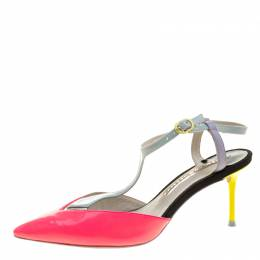 Sophia Webster Multicolor Patent Leather T Straps Pointed Toe Sandals Size 36.5 131958