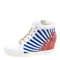 Loriblu White Painted Leather Wedge Sneakers Size 40
