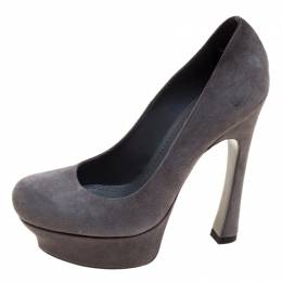 Yves Saint Laurent Grey Suede Palais Platform Pumps Size 35 120953