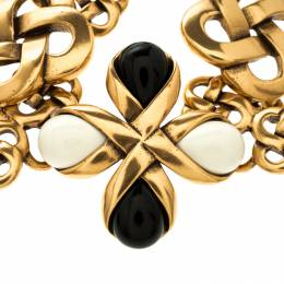 Oscar De La Renta Black And White Resin Gold Tone Toggle Bracelet 118493