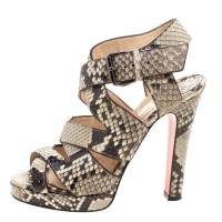 Christian Louboutin Two Tone Python Leather Criss Cross Strap Platform Sandals Size 37