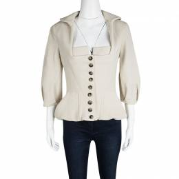 Roland Mouret Beige Wool Square Neck Detail Jacket L 116000