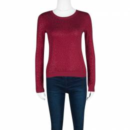 Alice + Olivia Red Knit Hot Fix Crystal Embellished Cropped Sweater XS 115077