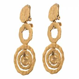 Oscar De La Renta Flat Circular Link Gold Tone Long Earrings 118545