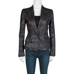 Gianfranco Ferre Brown Grass Snake Leather Jacket S 124863