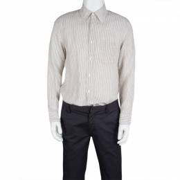 Boss By Hugo Boss White and Brown Striped Linen Long Sleeve Button Front Shirt M 125586