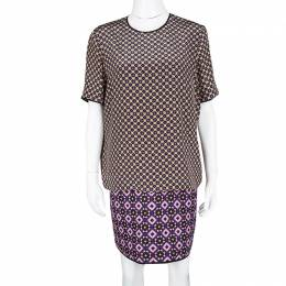Victoria Victoria Beckham Multicolor Printed Silk and Jacquard Short Sleeve Dress M 118539