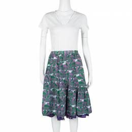 Marc Jacobs Multicolor Printed Ruffle Bottom Layered Skirt XS 118405