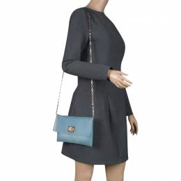Anya Hindmarch Matte Blue Rubber Valorie Chain Clutch 119921