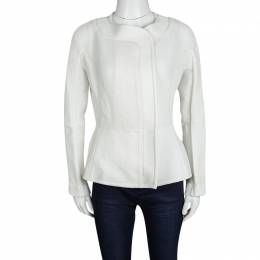 Roland Mouret White Cotton Blend Textured Bellasis Jacket M 121219