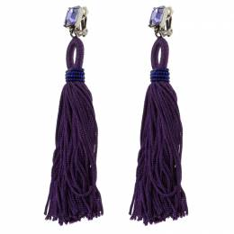 Oscar De La Renta Purple Crystal Long Tassel Clip-on Earrings 118592