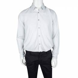Boss By Hugo Boss Grey and White Striped Cotton Long Sleeve Button Front Lukas Shirt M 121530