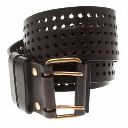 Saint Laurent Paris Dark Brown Perforated Leather Belt 90 CM 106693