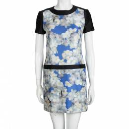 Victoria Victoria Beckham Multicolor Floral Printed Silk Short Sleeve Dress S 99355