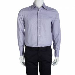 Tom Ford Purple Textured Cotton Long Sleeve Button Front Shirt M 96744
