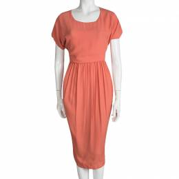 See By Chloe Orange Gathered Waist Short Sleeve Midi Dress M 95132