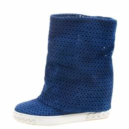 Casadei Cobalt Blue Perforated Suede Wedge Boots Size 36 103990