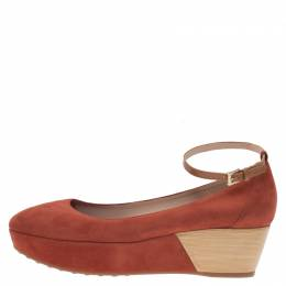 Tod's Brown Suede Ankle Strap Platform Wedge Pumps Size 40 78061