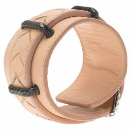 Bottega Veneta Intrecciato Cream Leather Cuff Bracelet S 77303