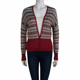 M Missoni Multicolor Patterned Perforated Knit Cardigan M 89635
