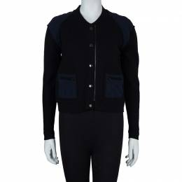 3.1 Phillip Lim Black Contrast Quilting Detail Zip Front Jacket XS 59679