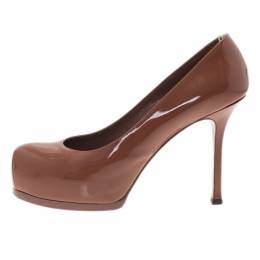 Saint Laurent Paris Brown Patent Tribtoo Platform Pumps Size 37 10280