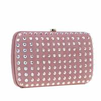 Gucci Pink Crystal Studs Suede Broadway Clutch
