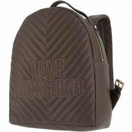 Love Moschino Grey Quilted Faux Leather Logo Backpack 199455
