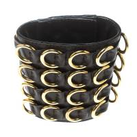 Giuseppe Zanotti Brown Leather Gold Tone Extra Wide Cuff Bracelet