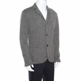 Emporio Armani Grey Textured Chunky Knit Wool Blend Jacket L 158460