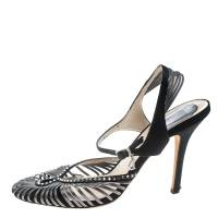 Dior Grey/Black Leather and Satin Crystal Embellished Strappy Sandals Size 39.5 160572