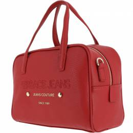 Versace Jeans Red Faux Pebbled Leather Satchel Bag 161922