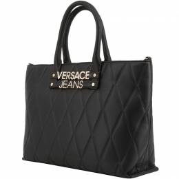 Versace Jeans Black Faux Quilted Leather Shopping Tote 161956