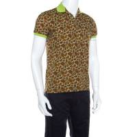 Etro Brown Paisley Printed Contrast Trim Detail Short Sleeve Polo T-Shirt S