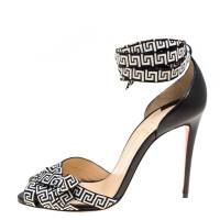 Christian Louboutin Black/Monochrome Leather and Fabric Christeriva Ankle Wrap Sandals 37.5