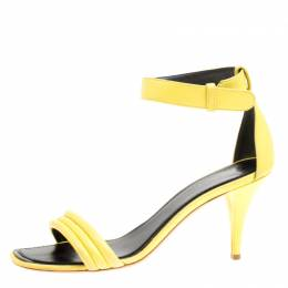 Celiine Yellow Leather Ankle Strap Sandals Size 37 Celine 166844