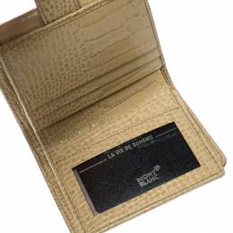 Montblanc Beige Croc Embossed Leather French Wallet 168011