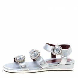 Marc By Marc Jacobs Grey Satin Crystal Embellished Buckle Flat Strappy Sandals Size 38.5 174724