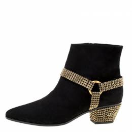 Rene Caovilla Black Suede Crystal Embellished Pointed Toe Ankle Boots Size 40 174872
