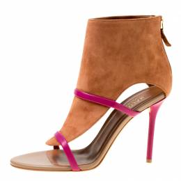 Malone Souliers Brown Suede With Pink Leather Straps Miley Open Toe Sandals Size 37 175522