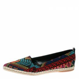 Nicholas Kirkwood Black/Multicolor Embroidered Twill Fabric Mexican Pointed Toe Espadrilles Size 39 175564