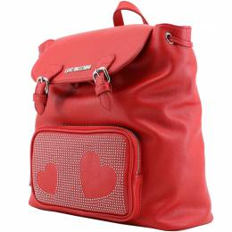 Love Moschino Red Faux Leather Studded Backpack 169701