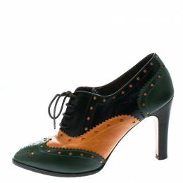 Etro Tricolor Leather Brogue Oxford Ankle Booties Size 38 176283