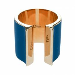 Dior Blue Gum Tee Shirt Gold Tone Open Wide Band Ring Size 56 178563