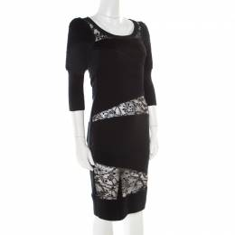 Sonia Rykiel Green and Black Lace Paneled Textured Sleeve Detail Sheath Dress S 178444