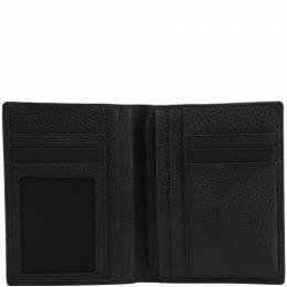 Piquadro Black Pebbled Leather Bifold Wallet 181604