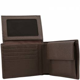 Piquadro Brown Pebbled Leather Bifold Wallet 181616