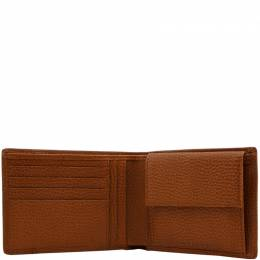 Piquadro Brown Pebbled Leather Bifold Wallet 181614